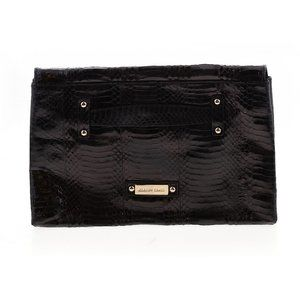 CHARLES DAVID black snakeskin clutch